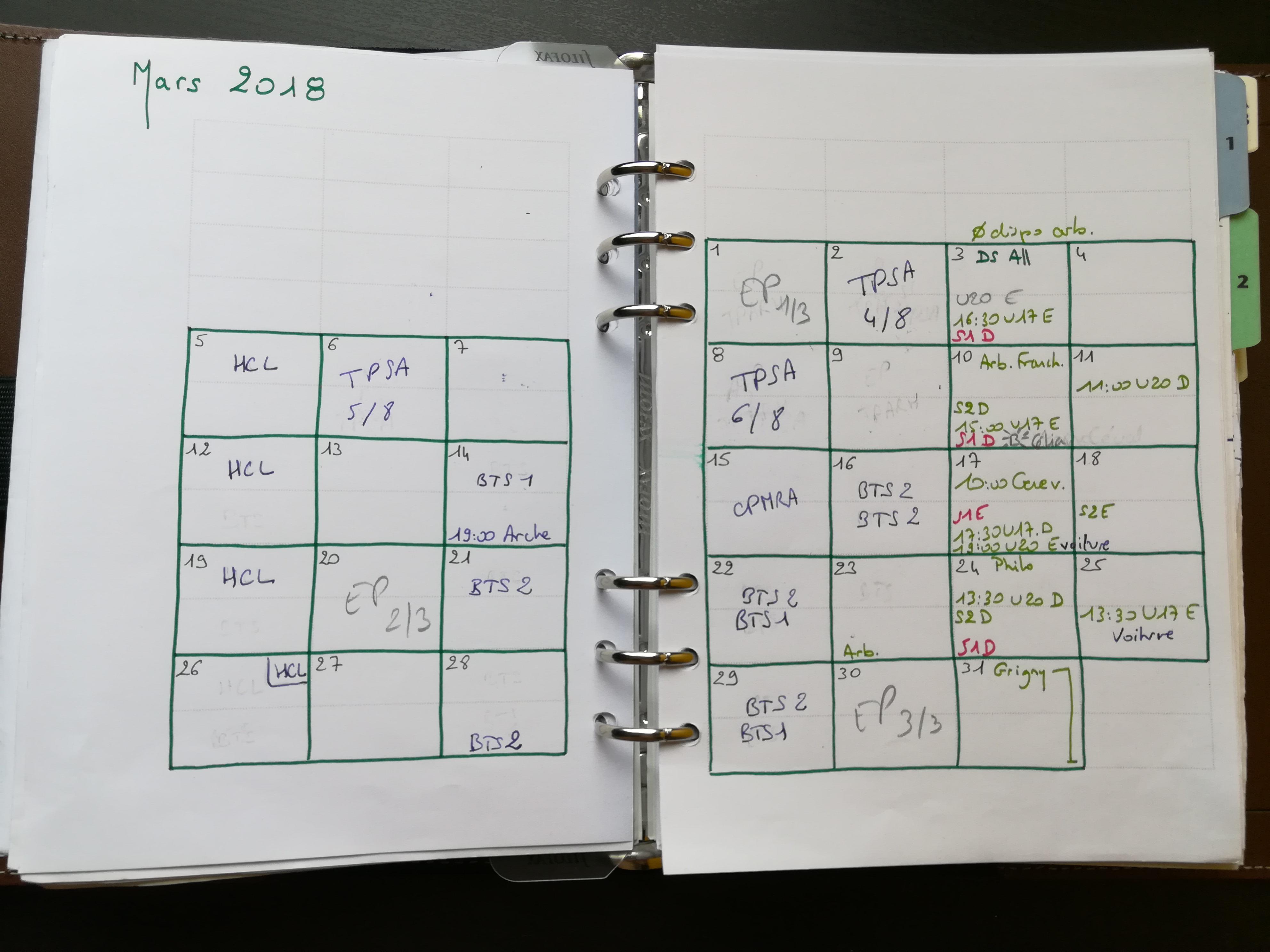 Bullet Journal - page du mois  - mars 2018 - Mylène Grenier
