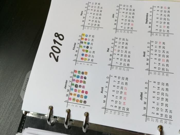 Bullet journal - Calendrier 2018 - Mylène Grenier